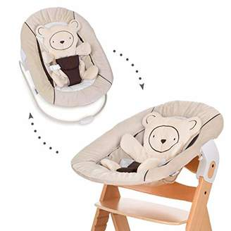 Hauck Alpha Bouncer 2-in-1 Newborn Set, Cosy Baby Rocker from Birth, Compatible with Wooden Grow-Along High Chair Alpha+, Beta+, Seat Minimizer, Hearts Beige