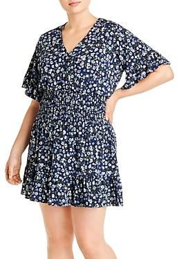 MICHAEL Michael Kors Garden Patch Printed Ruched Short Dress