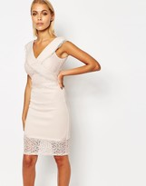 Lipsy Crossover Front Cutwork Lace Pencil Dress