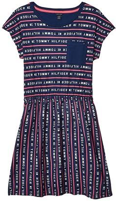 Tommy Hilfiger Logo Stripe Tee Dress (Big Kids) (Flag Blue) Girl's Dress