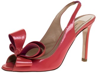 Valentino Coral Patent Leather Slingback Peep Toe Bow Sandals Size 35.5