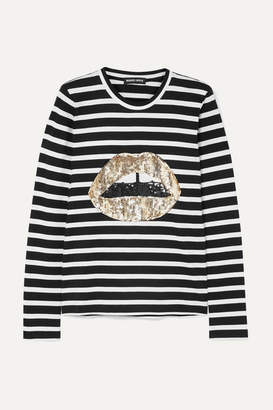 Markus Lupfer Sophie Sequined Striped Cotton-jersey Top - Black