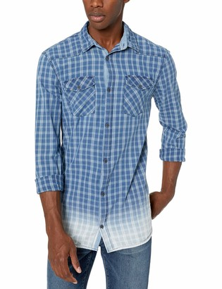 Buffalo David Bitton Men's Long Sleeve Button Down Light Plaid Shirt