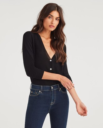 7 For All Mankind Classic Cardi in Black
