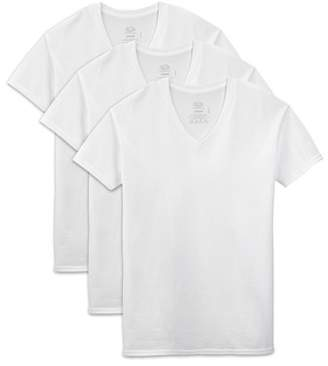 Fruit of the Loom Men's Dual Defense White V-Neck T-Shirts, 3 Pack, Extended Sizes
