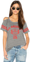Chaser Striped Sleeve Cold Shoulder Tee in Gray