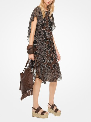 Michael Kors Collection Mixed Floral Ruffled Silk-Georgette Dress