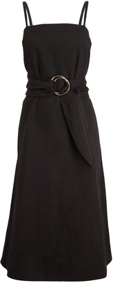 Club Monaco Belted A-Line Dress, Black