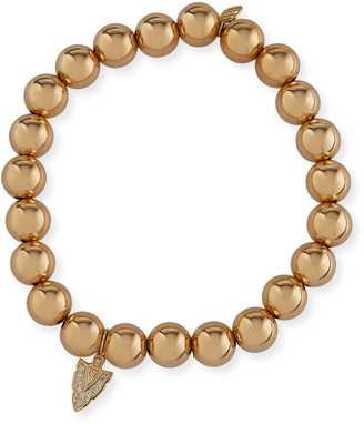 Sydney Evan 14k Gold Bead Bracelet w/ Diamond Arrow