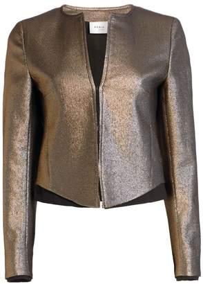 Akris Punto Gold Lame Roundneck Jacket