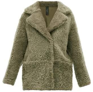 Giani Firenze Ingrid Reversible Shearling And Leather Coat - Womens - Dark Green