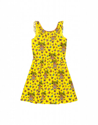 Moschino Butterflies Teddy Bear All Over Dress Woman Yellow Size 4a It - (4y Us)