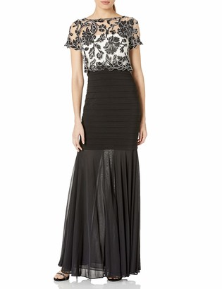 Betsy & Adam Women's Lace Banded Gown