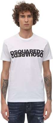 DSQUARED2 MIRROR LOGO PRINT COTTON JERSEY T-SHIRT