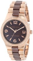 Anne Klein Women's 109118BMRG Ceramic Rosegold-Tone Swarovski Crystal Accented Brown Dress Watch