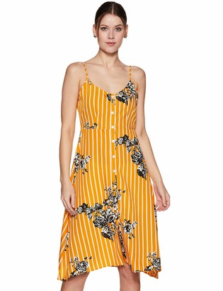 Oasis Wild Beachwear Women's Bodice Floral Printed Tank Dress with Button Detailing & Spaghetti Straps (Large