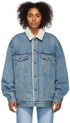 Levi's Levis Blue Denim Sherpa Big and Tall Type 3 Trucker Jacket