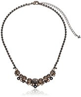 "Sorrelli Gold Vermeil"" Multi-cut Round Crystal Cluster Line Necklace, 16.75"" + 4.5"" Extender"