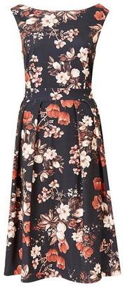 Mela London Black Floral Skater Dress