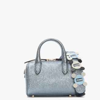 Anya Hindmarch Circulus Mini Vere Blue Metallic Leather Barrel Bag