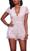 VANCOL Women's Sexy V-Neck Hollow Out Club Beach Shorts Lace Jumpsuit Rompers (S, )