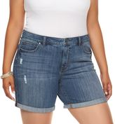 JLO by Jennifer Lopez Plus Size Distressed Boyfriend Jean Shorts