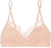 Stella McCartney Lily Blushing Lace-trimmed Ribbed Jersey Soft-cup Bra - small