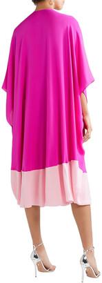 Reem Acra Draped Two-tone Silk-georgette Midi Dress