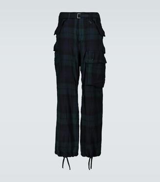 Sacai Check Shrivel wool cargo pants