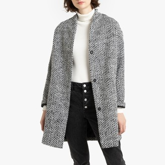 La Redoute Collections Oversized Herringbone Check Coat with Pockets