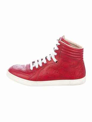 Gucci GG Signature Leather Sneakers Red
