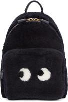 Anya Hindmarch Navy Shearling Mini Eyes Right Backpack