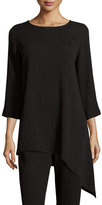 Caroline Rose 3/4-Sleeve Mini-Pleated Asymmetric Tunic, Plus Size