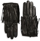 Rebecca Minkoff Fringe Trim Leather Gloves