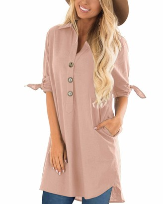 CNFIO Long Shirt Dress with Pockets Loose fit V Neck Working Dresses for Women Black Medium