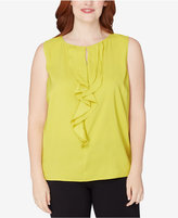 Tahari ASL Plus Size Ruffled Shell
