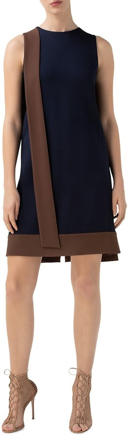 Thumbnail for your product : Akris Sleeveless Bicolor Crepe Sash Dress