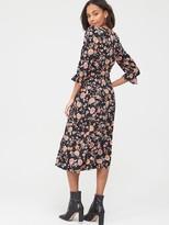 Very Wrap Over Long Sleeve Midi Dress - Floral Print