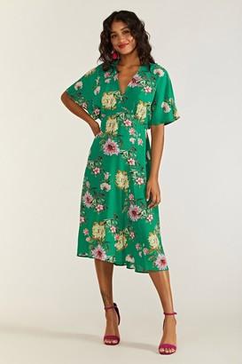 Yumi Peony Print Kimono Sleeve Midi Dress