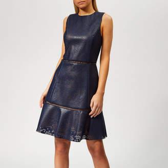 MICHAEL Michael Kors Women's Floral Laser Cut Dress - True Navy - US 2/UK 6 - Navy