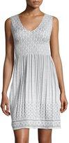 Max Studio Smocked Jacquard Sleeveless Dress, Ivory/Gray