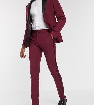 ASOS DESIGN Tall skinny tuxedo suit trousers in burgundy