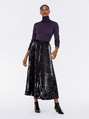 Diane von Furstenberg Brett Pleated Lucido Velvet Maxi Skirt
