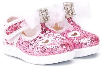 MonnaLisa Glittery Heart-Embroidery Ballerinas
