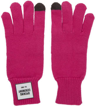 Opening Ceremony Pink Knit Logo Gloves