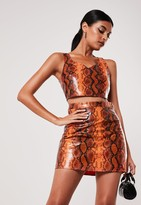 Missguided Orange Snake Print Co Ord Faux Leather Bralet