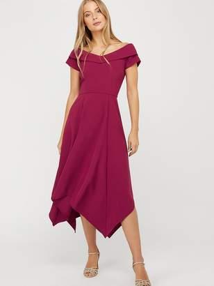 Monsoon Savea Recycled Polyester Bardot Dress - Berry