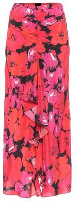 Rixo Vi floral silk midi skirt