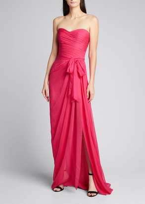 Monique Lhuillier Sweetheart Strapless Chiffon Gown