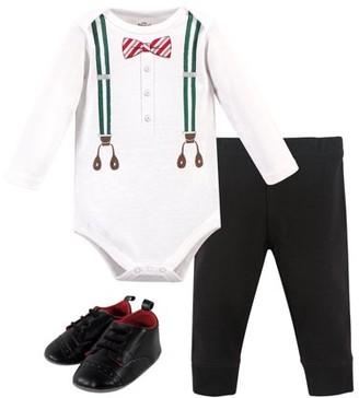 Little Treasures Little Treasure Baby Boy Long Sleeve Bodysuit, Pants & Shoes, 3pc Outfit Set